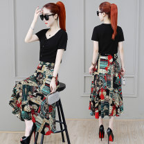 Women's large Summer 2021 M L XL 2XL 3XL Dress Two piece set commute easy thin Socket Short sleeve shape Korean version V-neck have cash less than that is registered in the accounts polyester fiber fold routine Meizhinu 25-29 years old Three dimensional decoration 96% and above longuette