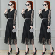 Women's large Summer 2021 Black apricot S M L XL 2XL Dress singleton  commute easy thin Socket Long sleeves Solid color Korean version V-neck nylon Collage routine Meizhinu 25-29 years old Lace stitching 81% (inclusive) - 90% (inclusive) longuette other Hollowing out