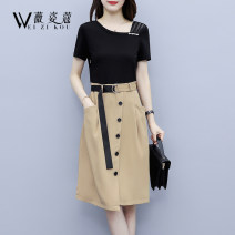 Dress Summer 2021 black L XL 2XL 3XL 4XL 5XL Mid length dress Fake two pieces Short sleeve commute Slant collar High waist Solid color Socket A-line skirt routine 30-34 years old Type A Weizikou Korean version Pocket lace up stitching three dimensional decorative asymmetric button mesh zipper belt