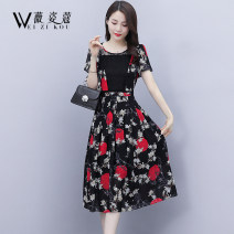 Dress Summer 2021 Red and green flowers M L XL 2XL 3XL 4XL Mid length dress singleton  Short sleeve commute Crew neck High waist Broken flowers Socket A-line skirt puff sleeve 30-34 years old Type A Weizikou Korean version Jacquard cut out zipper lace printing WN3C313BR66397450 More than 95% Chiffon
