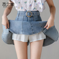 skirt Summer 2020 S M L XL 2XL blue Short skirt commute High waist A-line skirt Solid color Type A 18-24 years old XZX520201182 More than 95% The west of Xuan other Pleated asymmetric button zipper Korean version Other 100%