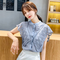 Lace / Chiffon Summer of 2019 Blue white pink 1 green 1 yellow 1 color leaves black 2 White 2 black dots Pink 3 green 3 yellow flowers 4 red 4 white 4 S M L XL 2XL Short sleeve commute Cardigan singleton  Straight cylinder Regular Crew neck Solid color Flying sleeve 25-29 years old The west of Xuan