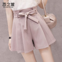 Casual pants S M L XL Spring of 2019 shorts Wide leg pants High waist commute routine 18-24 years old XZX520134718 The west of Xuan Korean version pocket Other 100%