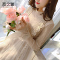 Dress Autumn of 2018 Apricot black S M L XL Mid length dress singleton  Long sleeves commute Half high collar middle-waisted Solid color zipper Ruffle Skirt pagoda sleeve Others 25-29 years old The west of Xuan Korean version Flounce cut out chain pleated mesh zipper lace XZX520133943 More than 95%