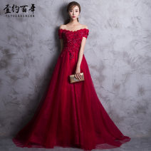 Dress / evening wear Weddings, adulthood parties, company annual meetings, daily appointments S M L XL XXL XS Korean version longuette middle-waisted Winter 2017 Fall to the ground One shoulder Bandage 18-25 years old Short sleeve flower Decor About one hundred years other Polyester 100%