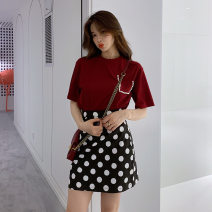 Women's large Summer 2021 Picture color Large L, large XL, s, M Two piece set Sweet moderate Short sleeve Dot Crew neck 81% (inclusive) - 90% (inclusive) Short skirt