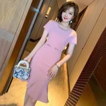 Dress Summer 2021 Pink S,M,L,XL,2XL Middle-skirt singleton  Short sleeve Crew neck High waist zipper Ruffle Skirt routine Rohmaron zipper 30% and below