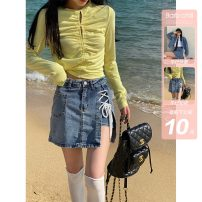 skirt Spring 2021 XS,S,M,L Denim, denim second batch Short skirt commute High waist A-line skirt other Type A 18-24 years old BBYA21PQ0070 51% (inclusive) - 70% (inclusive) other other Korean version