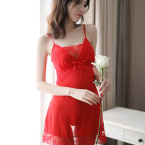 Nightdress A beautiful fire Black red pink rose S M L XL XXL sexy camisole pajamas Short skirt summer Solid color youth V-neck nylon lace 81% (inclusive) - 95% (inclusive) Mesh fabric SSQ9088 200g and below Winter of 2018 Polyamide fiber (nylon) 95% polyurethane elastic fiber (spandex) 5%