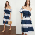 Dress Summer of 2018 Blue and white stripe one shoulder dress S,M,L Mid length dress singleton  Short sleeve Sweet One word collar High waist stripe Single breasted Breast wrapping naturaleye