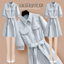 Dress Summer 2021 212726 blue dress (with cloth belt) 212726 pink dress (with cloth belt) S M L XL Short skirt singleton  Short sleeve commute Polo collar High waist Solid color Socket Ruffle Skirt bishop sleeve Others 25-29 years old Type A Onedawm / Chuli Korean version 212726#1 More than 95% other