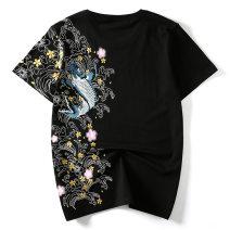 T-shirt Youth fashion White, black routine M,L,XL,XXL,XXXL,XXXXL,5XL Others Short sleeve Crew neck standard Other leisure spring Large size routine Japanese Retro other 2017 other Embroidery Cotton ammonia Animal design