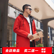 Windbreaker gules GxxH Fashion City 2XL,3XL,4XL,5XL,6XL,7XL zipper Medium length easy Other leisure winter Large size Hood (not detachable) tide t19666 Polyester 100% Digging bags with lids polyester fiber More than 95%
