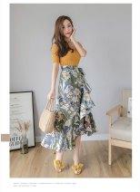 skirt Summer 2020 M,L,XL,2XL,3XL,4XL longuette commute High waist A-line skirt Decor Type A 25-29 years old Chiffon polyester fiber printing Korean version