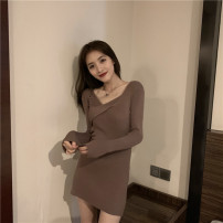 Dress Spring 2021 Black Khaki S M L XL Middle-skirt singleton  Long sleeves commute Slant collar High waist Solid color Socket other routine Others 18-24 years old Type A ikllo Retro Asymmetric splicing thread AWUY79618hznO More than 95% knitting other Other 100% Pure e-commerce (online only)