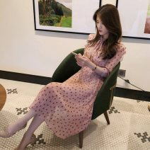 Dress Summer 2020 Pink dots S M L XL longuette singleton  Long sleeves commute Crew neck High waist Dot Socket A-line skirt routine 18-24 years old Type A ikllo Retro printing OIGT80990 More than 95% other Other 100% Pure e-commerce (online only)