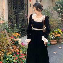Dress Winter 2020 black S M L XL longuette singleton  Long sleeves commute Crew neck High waist Solid color Socket A-line skirt routine Others 18-24 years old Type A ikllo Korean version Pleated lace with ruffles 71% (inclusive) - 80% (inclusive) other polyester fiber Polyester 80% other 20%