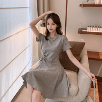 Dress Summer 2020 Black grey S M L XL Mid length dress singleton  Short sleeve commute Crew neck High waist Solid color Socket Ruffle Skirt routine Others 18-24 years old Type A ikllo Retro Ruffle stitching YIJI54212 More than 95% other other Other 100% Pure e-commerce (online only)