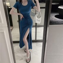 Dress Summer 2021 Blue black S M L longuette singleton  Short sleeve commute Crew neck High waist Solid color Socket Irregular skirt routine Others 18-24 years old Type A ikllo Retro Asymmetric splicing thread 3353# More than 95% other other Other 100% Pure e-commerce (online only)