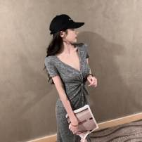 Dress Spring 2021 Flower grey S M L longuette singleton  Short sleeve commute V-neck High waist Solid color Socket A-line skirt routine Others 18-24 years old Type A ikllo Retro Asymmetric splicing thread More than 95% other other Other 100% Exclusive payment of tmall