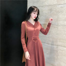 Dress Autumn of 2019 Black red S M L XL 2XL Mid length dress singleton  Long sleeves commute V-neck Elastic waist Solid color Single breasted Ruffle Skirt routine Others 18-24 years old Type A ikllo Korean version Lotus leaf and Auricularia auricula bandage More than 95% knitting other Other 100%