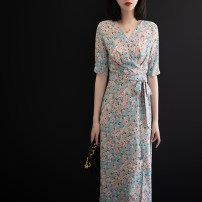 Wedding dress Summer 2021 Korean version other Bandage other Deep collar V Chiffon Three dimensional cutting 2105191509 High waist Over 35 years old 96% and above Blue pink flower M,L,XL,2XL