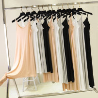 Dress Summer 2020 M,L,XL Mid length dress singleton  Sleeveless commute V-neck Loose waist Solid color Socket A-line skirt other camisole Type A Korean version 91% (inclusive) - 95% (inclusive) brocade modal