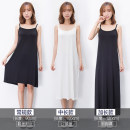 Dress Summer of 2018 Black, medium, white, medium, black, long, white, long, white, black. M L XL Long skirt Commuting Single sleeveless Round neck Pure color Loose waist Sleeve A-line skirt other Sling Korean version Type A Backless Brocade 91% (inclusive) - 95% (inclusive) Modal