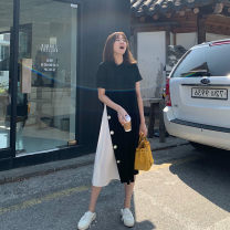 Dress VSETAMELLE Black, green M. L, XL, XXL, XXXL, increase XXXL leisure time Short sleeve have more cash than can be accounted for summer Crew neck Solid color Chiffon vs454684456