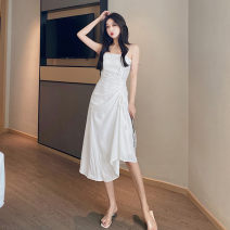 Women's large Summer 2020 White black S M Dress singleton  commute Self cultivation moderate Socket Sleeveless Solid color Korean version One word collar Medium length fold other Glganrlin / Ganlin 18-24 years old Button 71% (inclusive) - 80% (inclusive) Medium length Polyester 65% other 35%