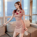 Women's large Summer 2020 Red lattice S M L Dress singleton  commute Self cultivation moderate Socket Short sleeve lattice Korean version stand collar other printing and dyeing routine YMD20B8186 Glganrlin / Ganlin 18-24 years old 71% (inclusive) - 80% (inclusive) Short skirt Polyester 65% other 35%