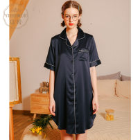 Nightdress Yierjour / Yiyue Yue S1088 blue Yue S1088 white Yue S1088 pink Yue S1088 red XXXL 155(S) 160(M) 165(L) 170(XL) 175(XXL) Simplicity Short sleeve pajamas Middle-skirt summer Solid color youth Small lapel Polyester (polyester) Embroidery More than 95% Satin  Yue S1088 blue Summer of 2019