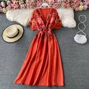 Dress Spring 2021 Average size Mid length dress singleton  Short sleeve commute V-neck High waist Decor Socket A-line skirt routine 18-24 years old Type A Other / other Embroidery, lace 30% and below other other