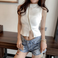 Wool knitwear Summer of 2019 Average size White, pink, red, black, 007 white breast Sleeveless singleton  Socket other 51% (inclusive) - 70% (inclusive) have cash less than that is registered in the accounts Thin money Self cultivation High collar routine Solid color zipper Other / other
