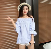 shirt Average size Summer of 2019 cotton 51% (inclusive) - 70% (inclusive) elbow sleeve commute Regular One word collar Socket pagoda sleeve stripe 18-24 years old Straight cylinder Other / other Korean version bow