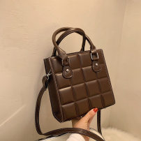 Bag The single shoulder bag PU Small square bag Heya brand new Japan and South Korea Small leisure time soft zipper no Solid color Single root One shoulder cross carry nothing youth Vertical square lattice Soft handle soft surface Three dimensional bag