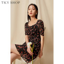 Dress Summer 2021 Black flower black flower (pre sale) 160/84A/S 165/88A/M Short skirt singleton  Short sleeve commute V-neck High waist Broken flowers zipper A-line skirt routine Others 25-29 years old Type A TKY SHOP lady Bandage 11E1KH02K050 More than 95% other other Other 100%