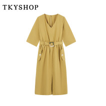 Dress Summer 2021 yellow 160/84A/S 165/88A/M 170/92A/L Middle-skirt other Short sleeve commute V-neck High waist Solid color zipper A-line skirt routine 25-29 years old Type A TKY SHOP lady pocket More than 95% other Same model in shopping mall (sold online and offline)