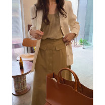 skirt Spring 2021 S,M,L Black;, red brown;, milk white; Middle-skirt Retro High waist A-line skirt Solid color Type H 18-24 years old Q1103780231 cotton Button