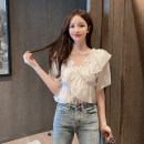Lace / Chiffon Summer 2021 White, purple S,M,L,XL Short sleeve Socket singleton  Straight cylinder V-neck Solid color puff sleeve 18-24 years old Other / other Frenulum 96% and above polyester fiber