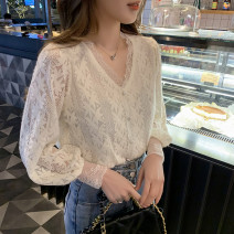 T-shirt White, black Spring 2021 Long sleeves V-neck easy routine commute other 86% (inclusive) -95% (inclusive) 25-29 years old originality Solid color Three dimensional decoration
