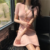 Women's large Spring 2021, summer 2021 Black, pink Dress singleton  commute easy Socket Short sleeve Solid color Korean version V-neck polyester fiber routine Other / other 25-29 years old 96% and above Short skirt