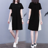Dress Spring 2021 black S,M,L,XL,2XL,3XL Mid length dress singleton  Short sleeve Sweet Crew neck Solid color puff sleeve 25-29 years old Pocket, lace up 91% (inclusive) - 95% (inclusive) brocade cotton