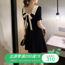 Women's large Spring 2021, summer 2021 black Dress singleton  commute Self cultivation moderate Socket Short sleeve Solid color Retro Polo collar Medium length other Three dimensional cutting routine Other / other 25-29 years old Three dimensional decoration 51% (inclusive) - 70% (inclusive) other