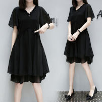 Women's large Summer 2021 black Large XL, large XXL, large XXL, large XXXXL, large XXXXL Dress singleton  street easy moderate Socket Short sleeve Solid color other Polyester, cotton Three dimensional cutting routine 25-29 years old Lace stitching 96% and above Medium length other bow