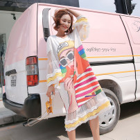 Women's large Summer 2020, spring 2020 Decor Big size average T-shirt singleton  commute easy thin Socket elbow sleeve Cartoon, animation, letters Korean version Crew neck Medium length printing and dyeing puff sleeve 25-29 years old Lace stitching Medium length Cake skirt Hollowing out