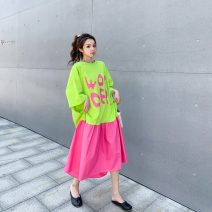 Women's large Summer 2020 Fluorescent green, plum red Big size average Dress singleton  Sweet easy thin Socket Short sleeve letter Crew neck Medium length cotton printing and dyeing raglan sleeve 25-29 years old Asymmetry Medium length Irregular skirt Hollowing out college