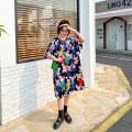 Women's large Summer 2021 Dress singleton  commute easy moderate Socket Short sleeve Cartoon animation Korean version Crew neck Medium length polyester fiber printing and dyeing raglan sleeve 18-24 years old Three dimensional decoration 96% and above Medium length Pleated skirt Hollowing out