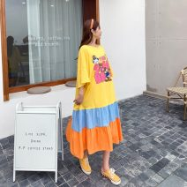 Women's large Summer 2021 Yellow, black Big size average Dress singleton  commute easy thin Socket Short sleeve Cartoon, animation, letters Korean version Crew neck Medium length cotton printing and dyeing raglan sleeve 25-29 years old Asymmetry Medium length Ruffle Skirt Hollowing out