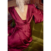 Dress Autumn of 2018 claret S,M,L longuette singleton  Long sleeves commute V-neck Elastic waist Solid color other Big swing bishop sleeve Others 18-24 years old Type A Retro Ruffles, open back, folds More than 95% other other